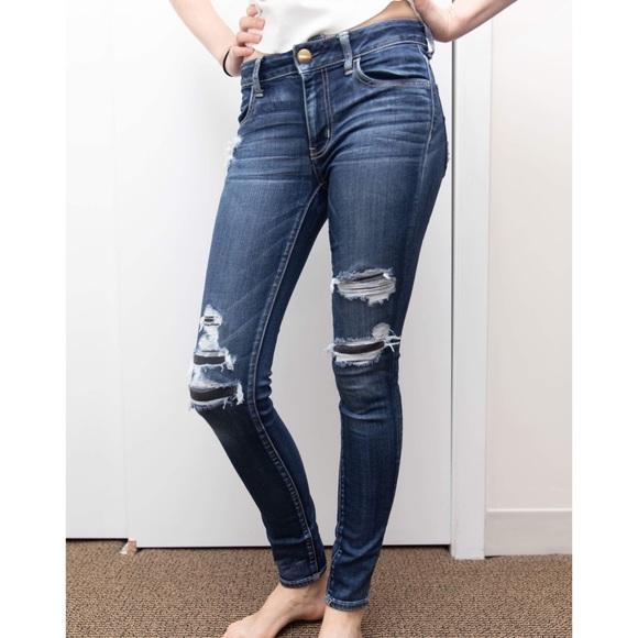 KORSE Women Ripped Holes Patch Stretch Mid Rise Denim Skinny Leg Jean
